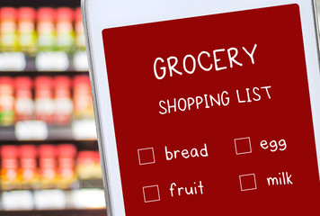 Smart phone with grocery online shopping list on screen