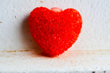 Big red framed heart on a white background. Render.