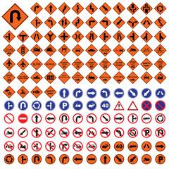 traffic sign orange red blue road sign set  vector Illustration