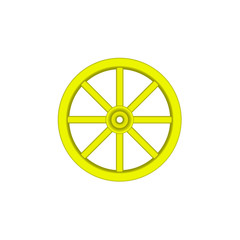 Vintage wooden wheel in yellow design