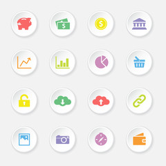 colorful web icon set 4 on white circle button with soft shadow