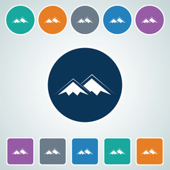 Icon of Mountain in Multi Color Circle & Square Shape. Eps-10.