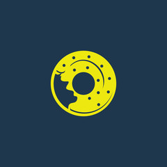 Yellow icon of Donuts on dark blue background. Eps.10