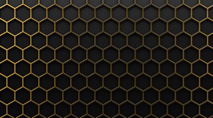 gold hexagonal grid on black