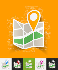 navigator paper sticker with hand drawn elements