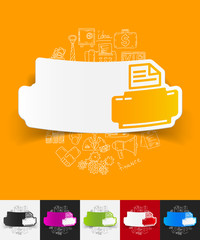 printer paper sticker with hand drawn elements