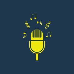 Yellow icon of Microphone on dark blue background. Eps.10