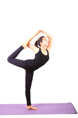 asian woman health care yoga posting isolated white background
