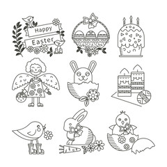 Easter linear icons