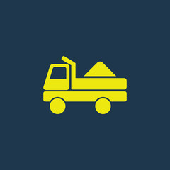 Green icon of Truck on dark blue background. Eps.10