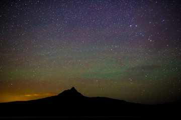 Stars of Milky Way and Northern Lights at Night