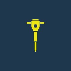 Yellow icon of Jack Hammer on dark blue background. Eps.10