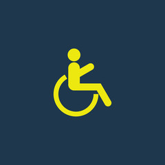 Yellow icon of Patient On Wheel Chair on dark blue background. Eps.10