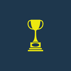 Yellow icon of Trophy on dark blue background. Eps.10