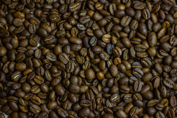 black Coffee beans texture background