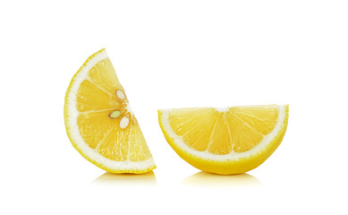 Sliced of lemon isolated on the white background