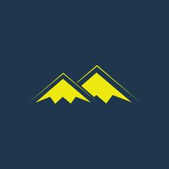 Yellow icon of Mountains on dark blue background. Eps.10