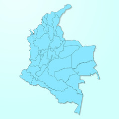 Colombia map on blue degraded background vector