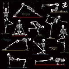 Skeleton practicing yoga
