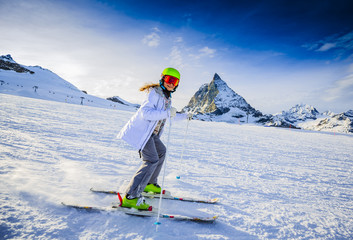 Skier girl with view of Matterhorn  - Zermatt, Switzerland