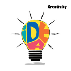 Light bulb sketch with concept of idea. Doodle hand drawn sign.E