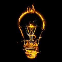 Composite image of bulb on fire on white background