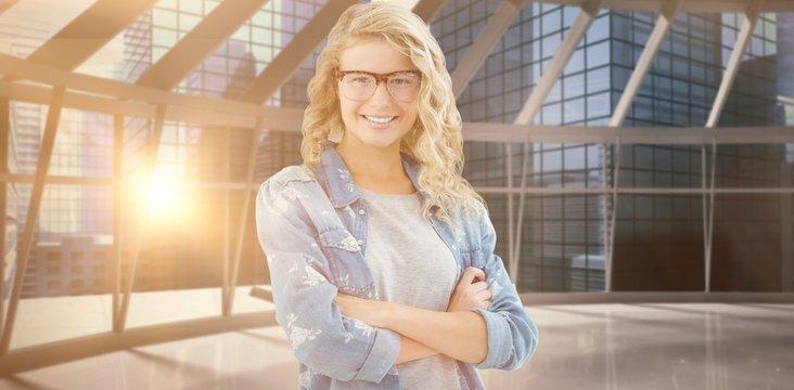 Composite image of portrait of smiling businesswoman