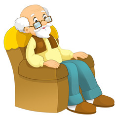 Cartoon grandfather sitting in the chair - illustration for the children