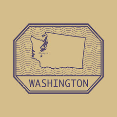 Stamp with the name and map of Washington, United States