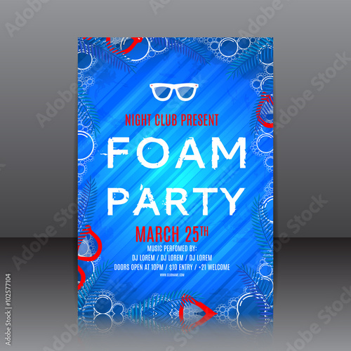one big foam party flyer blue template of invitation on a foam