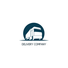 Delivery truck company logo template. Intercity transport company concept.