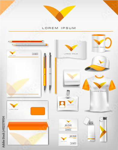 Abstract yellow and orange logo and corporate identity template abstract yellow and orange logo and corporate identity template realistic set of cups business card reheart Images