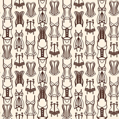 Brown lingerie line art seamless pattern on beige background
