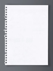 White sheet of paper with clipping path.