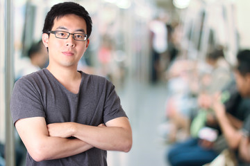 Asian man in subway