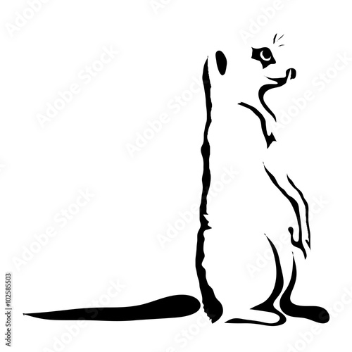 """Meerkat Outline Tattoo. Can Be Use For Logo"" Stock Image"