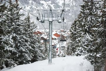 Chairlift intermediate tower at ski resort