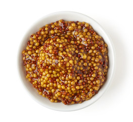 Bowl of full wholegrain mustard