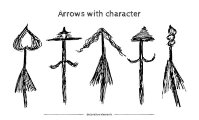 Hand drawn vector arrow collection isolated