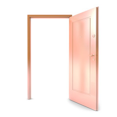 Gold door on a white background