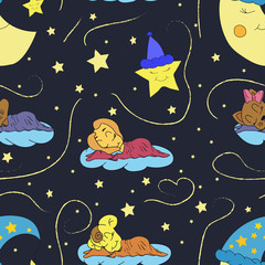 A cartoon illustration of seamless pattern hand drawing of a smiling moon, the stars and the sleeping child. Suitable for interior design baby room or bed linen. Vector
