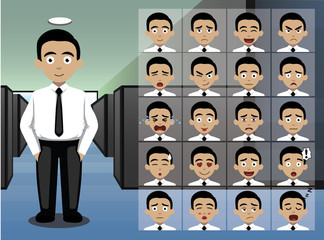 Business Young Man Cartoon Emotion faces Vector Illustration
