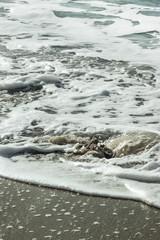 Sea foam on a sandy beach