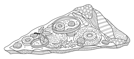 Pizza Slice Zentangle Coloring Page