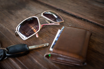 sunglasses with wallet and car remote key