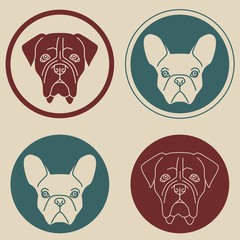 Set of round labels with dog heads in retro colors