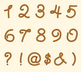 Set of rope font symbols and numbers