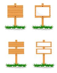 Wooden Signs Vector Illustrations