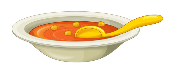 Cartoon bowl of soup - isolated - illustration for the children