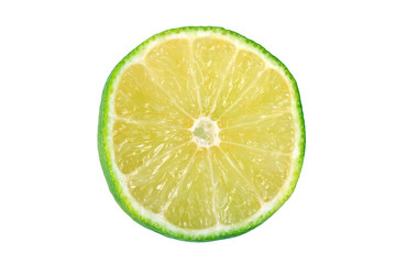 the lime slice isolated on white background